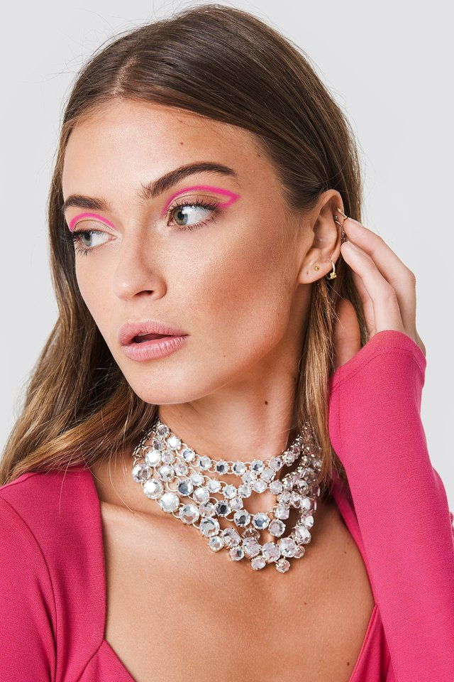Layered Rhinestone Necklace Silver