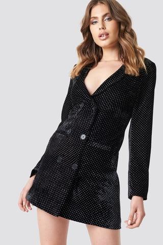 Black Sparkling Velvet Blazer Dress