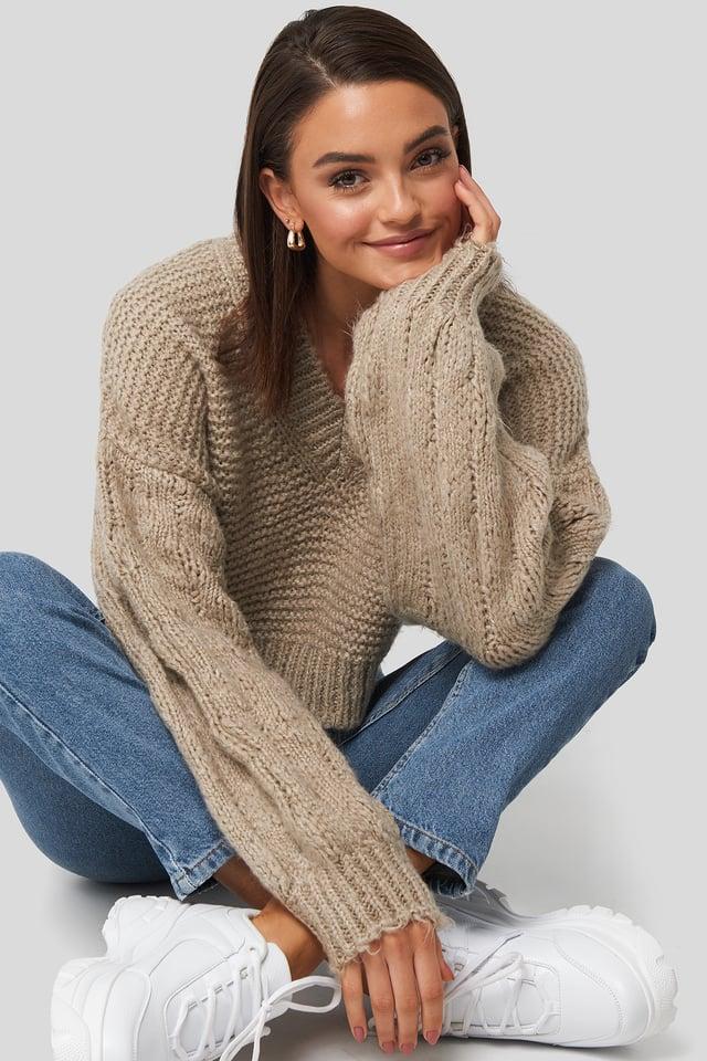 Bulky Sleeve Heavy Knit Sweater Beige
