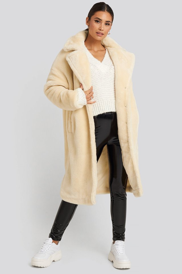 Faux Fur Coat Off White