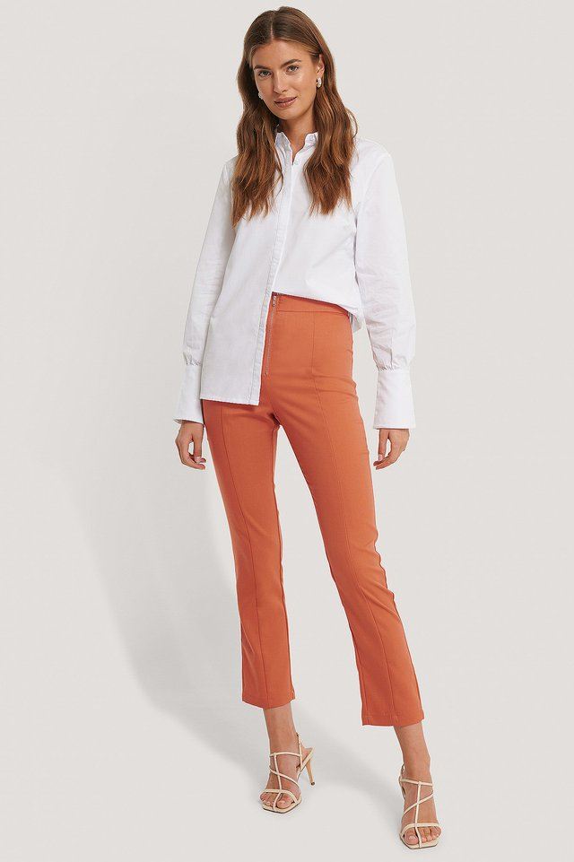 Back Slit Trousers Rust