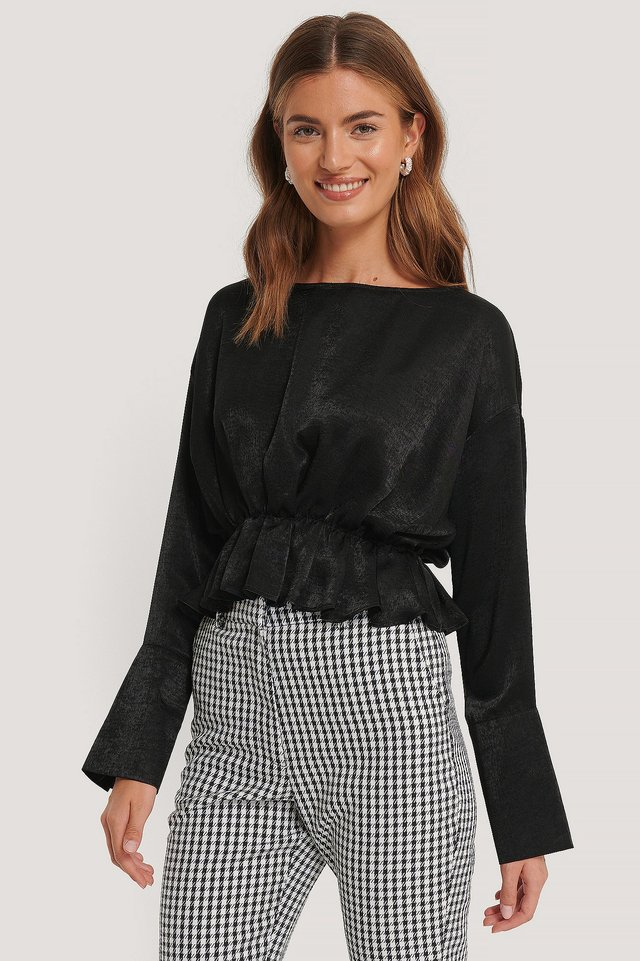 Boat Neck Gatherings Blouse Black