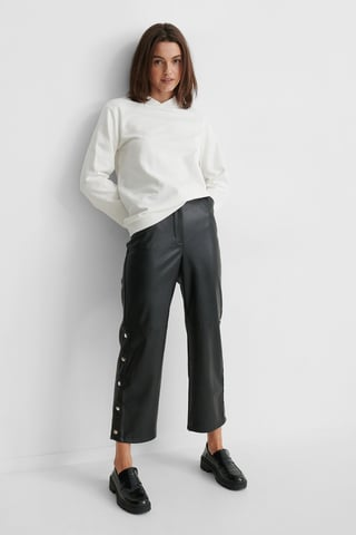 Black Button Detail Pu Pants