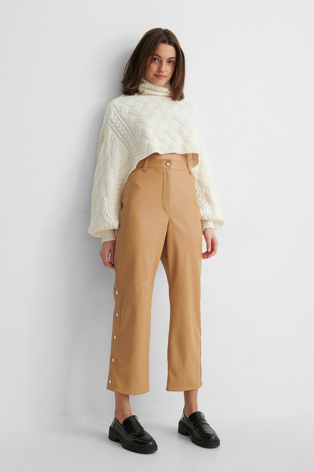 Latte Button Detail Pu Pants
