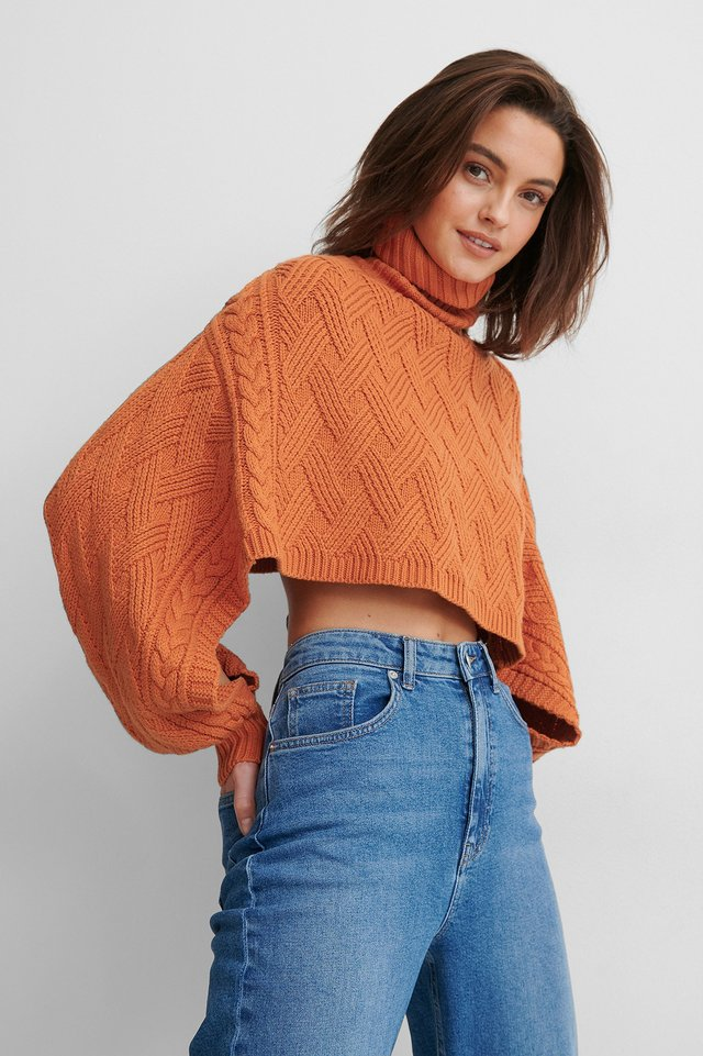 Rust Cropped Cable Knitted Sweater