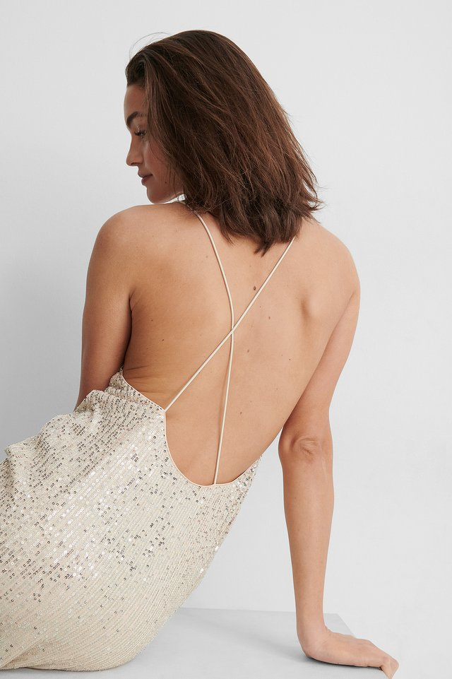 Silver Crossed Back Sequins Dress