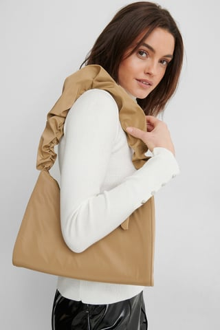 Latte Frilled Nylon Bag