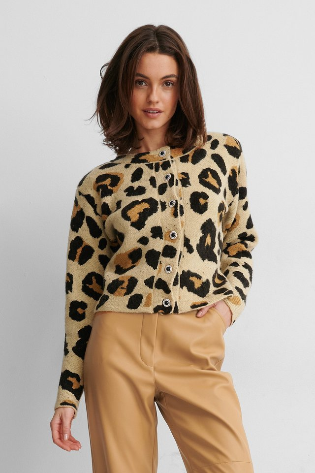 Leopard Neuletakki Glitter-Napeilla