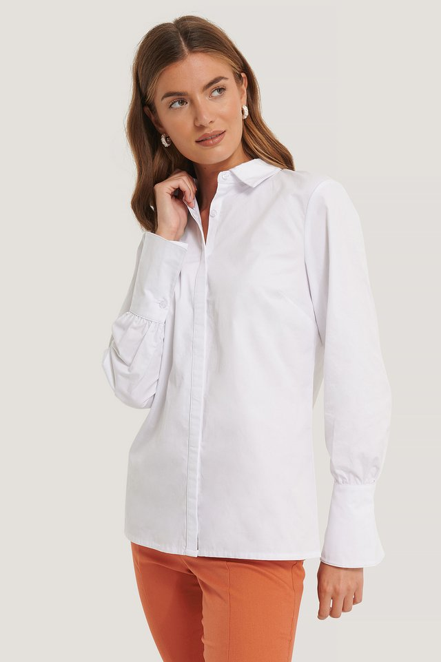 Long Cuff Poplin Shirt White