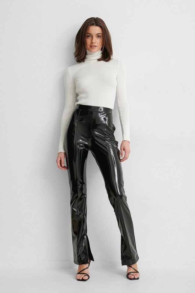 Black Patent Slit Pants