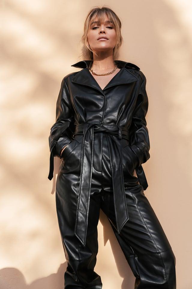 Black Pu Jumpsuit