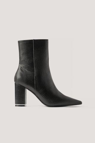 Black Snake Printed Heels