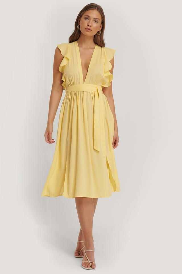 Midi-Kleid Mit Rüschenärmeln Lemon