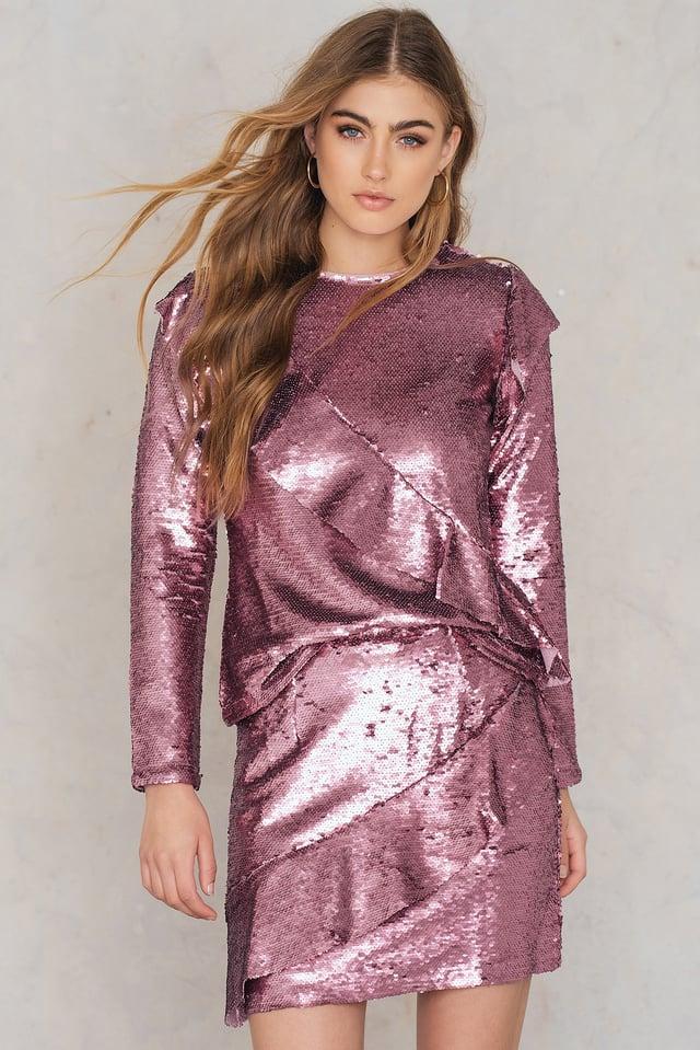 Frill Sequin Skirt Pink Sequin