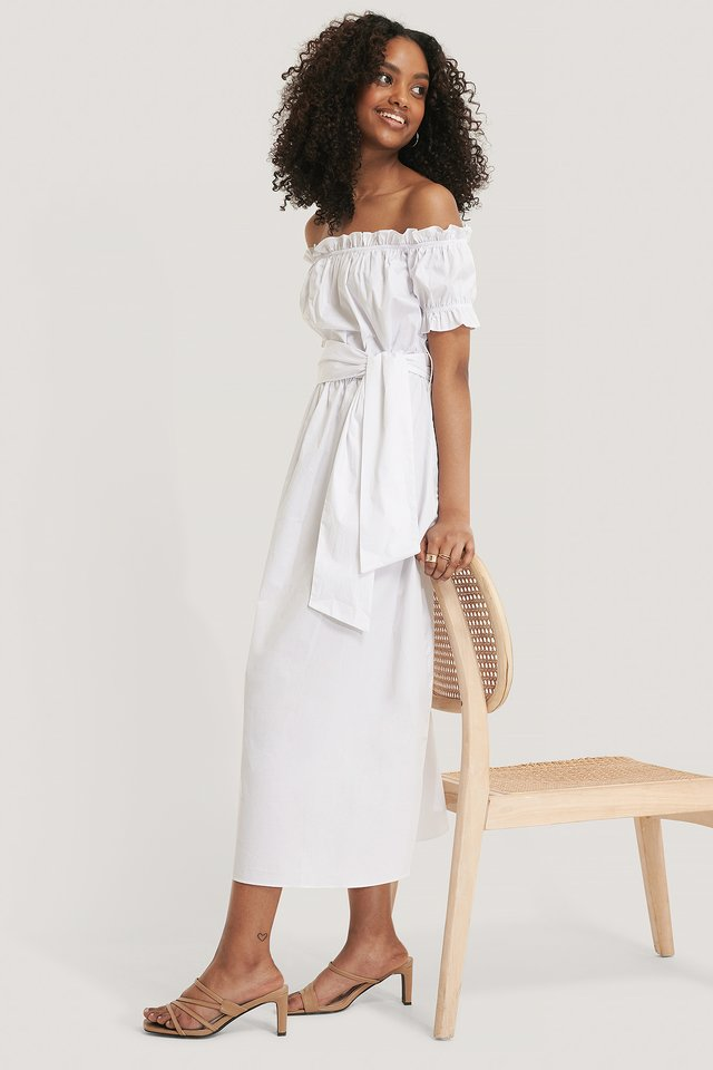 Bardot Tie Waist Midi Dress White