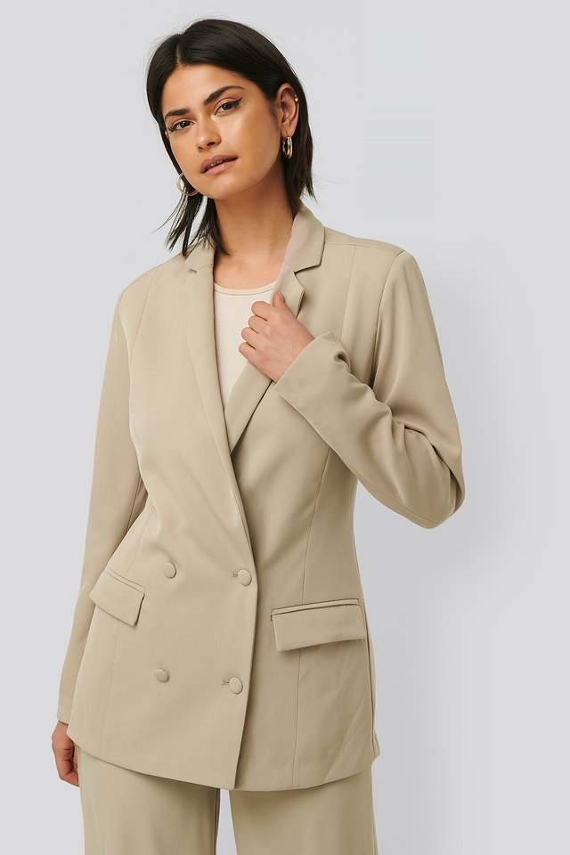 Oversized Blazer Pocket Detail Stone