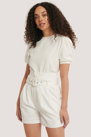 Offwhite Belted High Waist Shorts