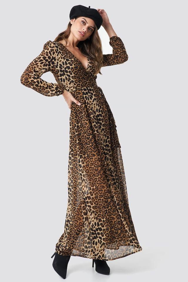 Long Leo Dress Brown/Leopard