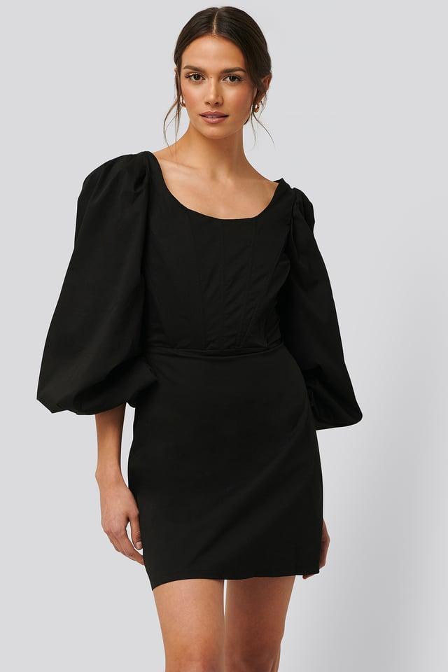 Langärmeliges Minikleid Mit Korsettdetail Black