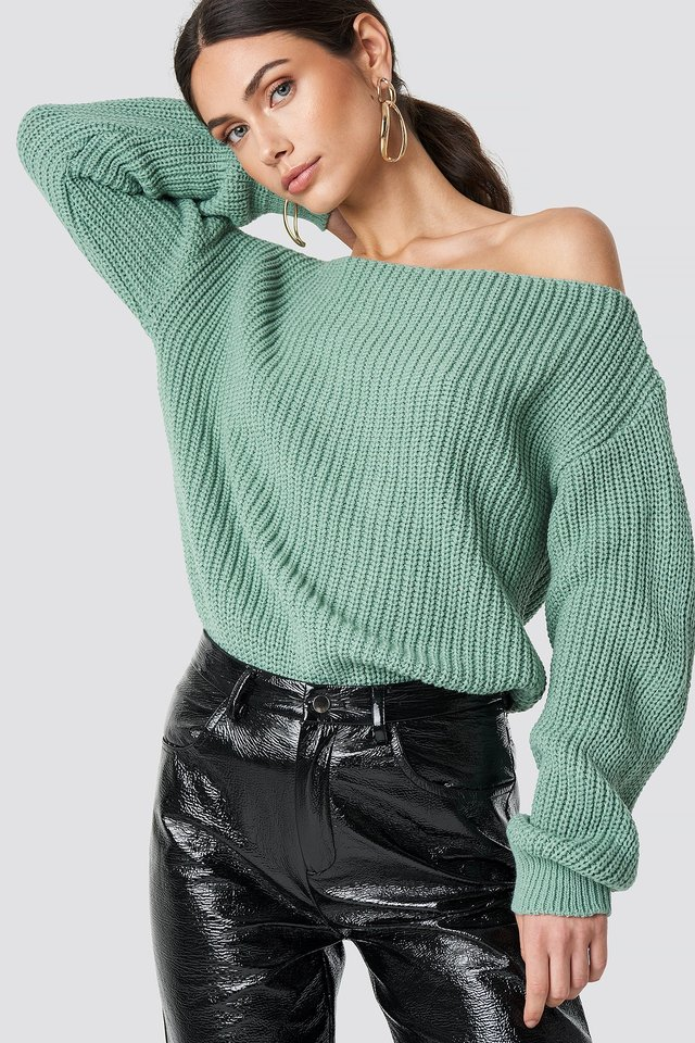 Off Shoulder Knitted Top Dusty Mint
