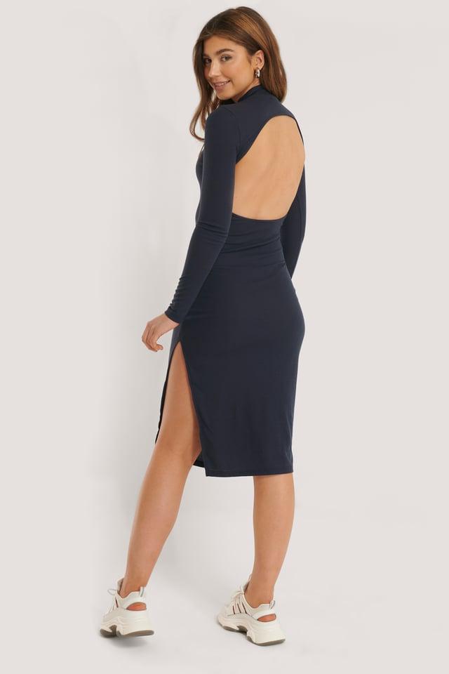 Open Back Knit Bodycon Dress Navy