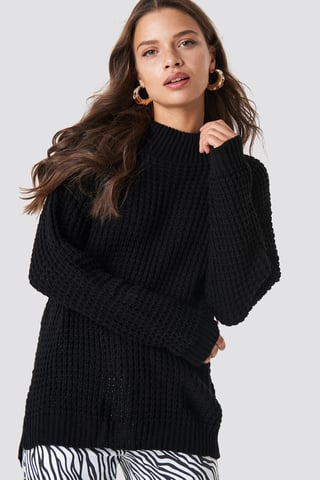 Black Overlap Back Slit Knitted Jumper