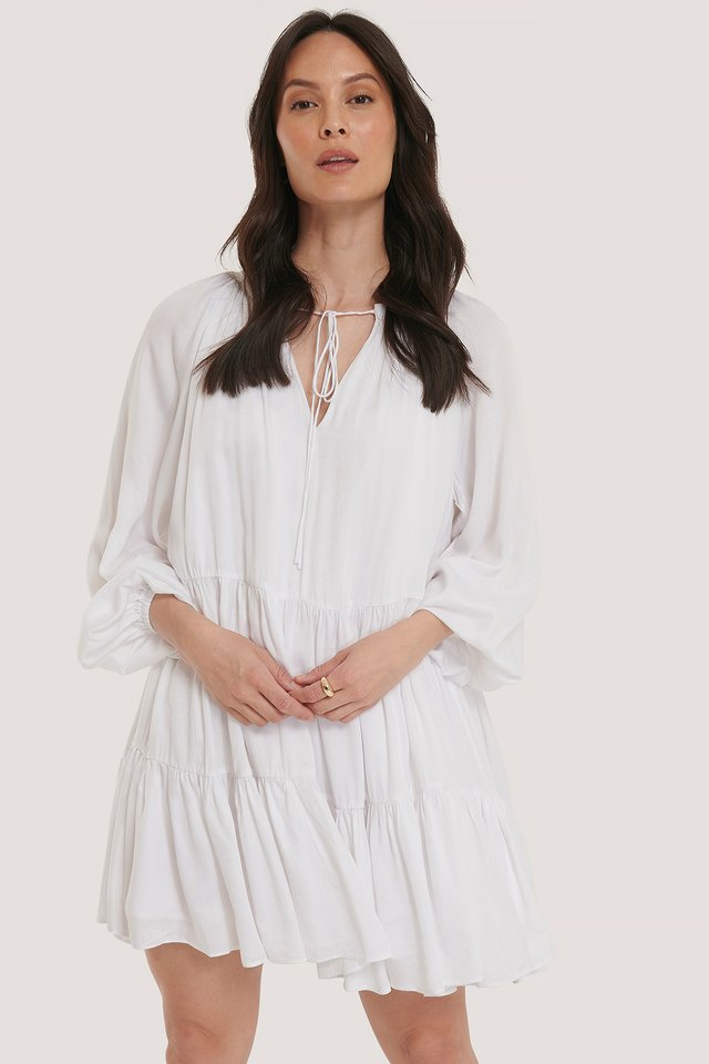 Oversized Smock Mini Dress White