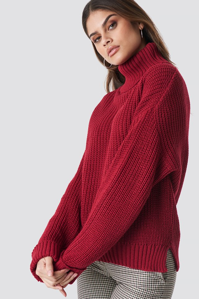 Polo Knitted Jumper Raspberry