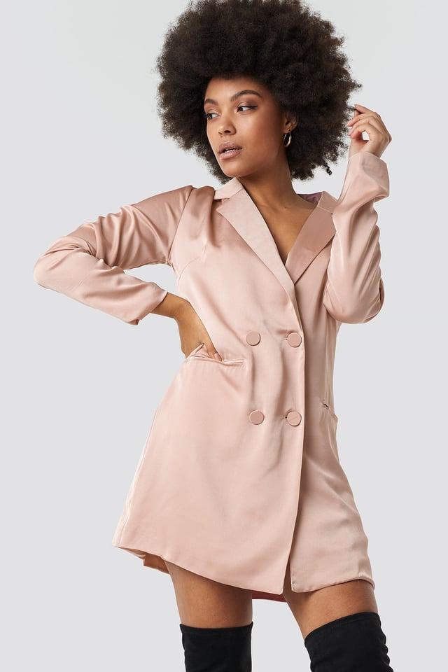 Satin Suit Dress Blush Pink