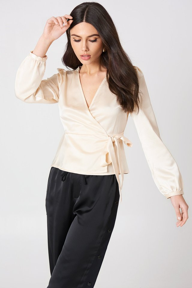 Tie Overlap Blouse Oyster