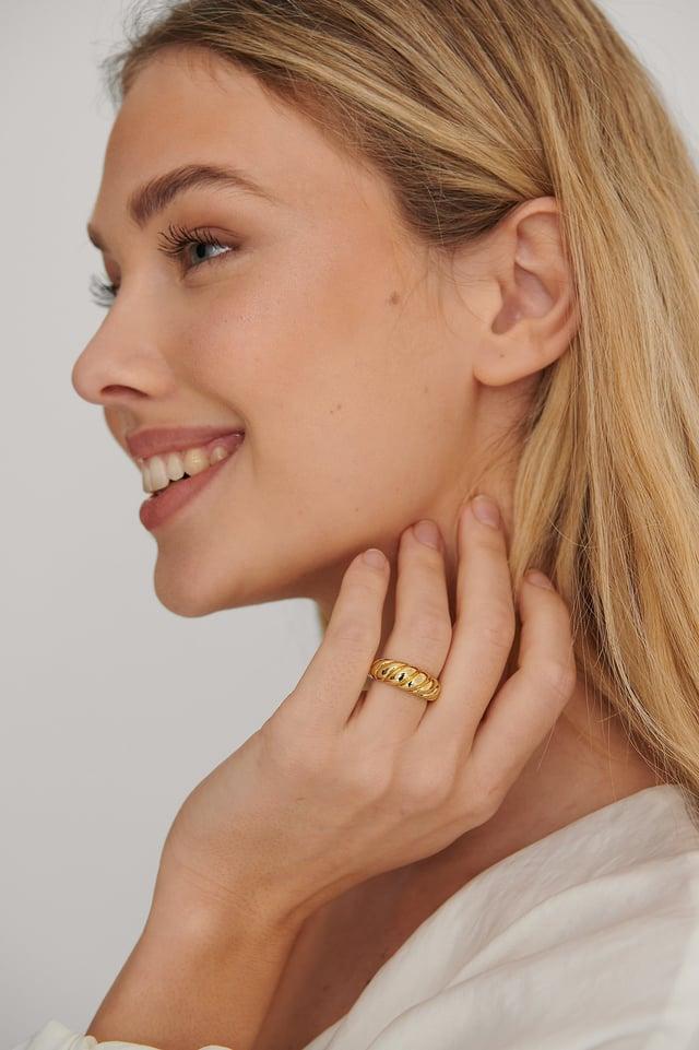 Gold Vergoldeter Strukturierter Ring