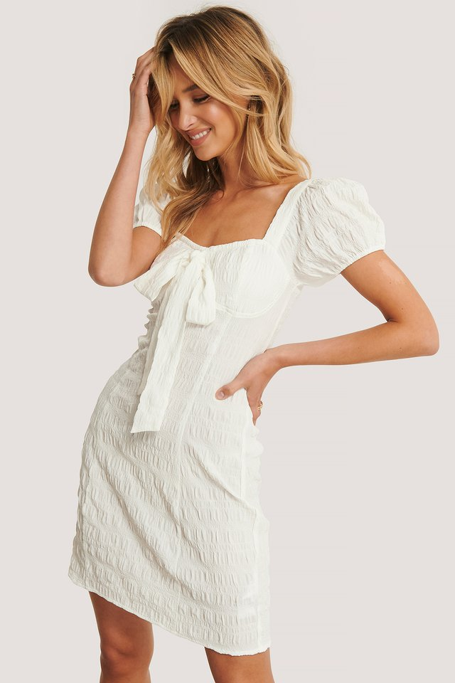 Structured Bow Dress White