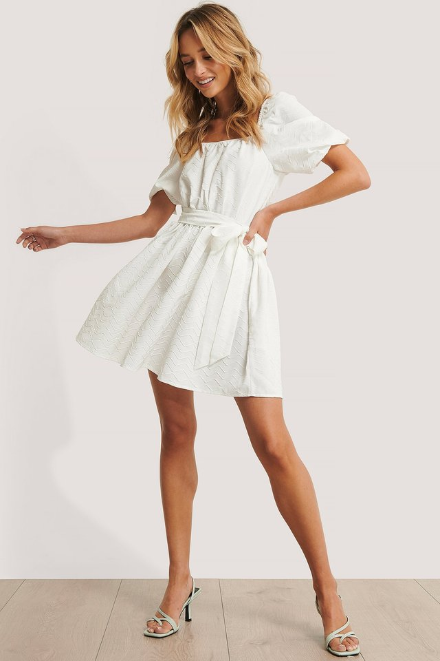 Tie Waist Structured Mini Dress White