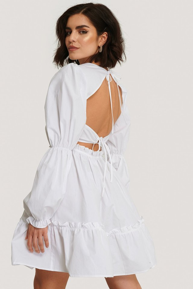 Back Detail Cotton Dress White