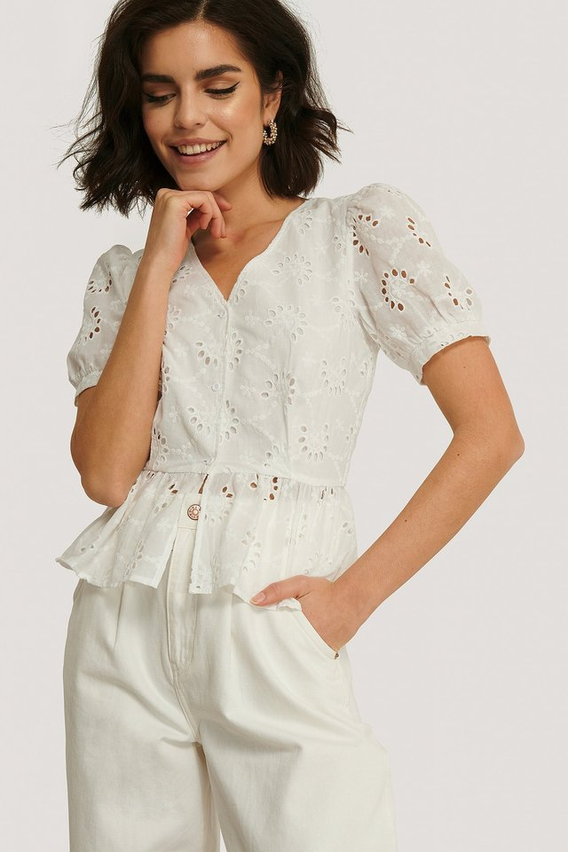 Blume Anglaise Bluse White
