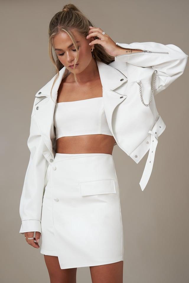 Asymmetric Faux Leather Mini Skirt White
