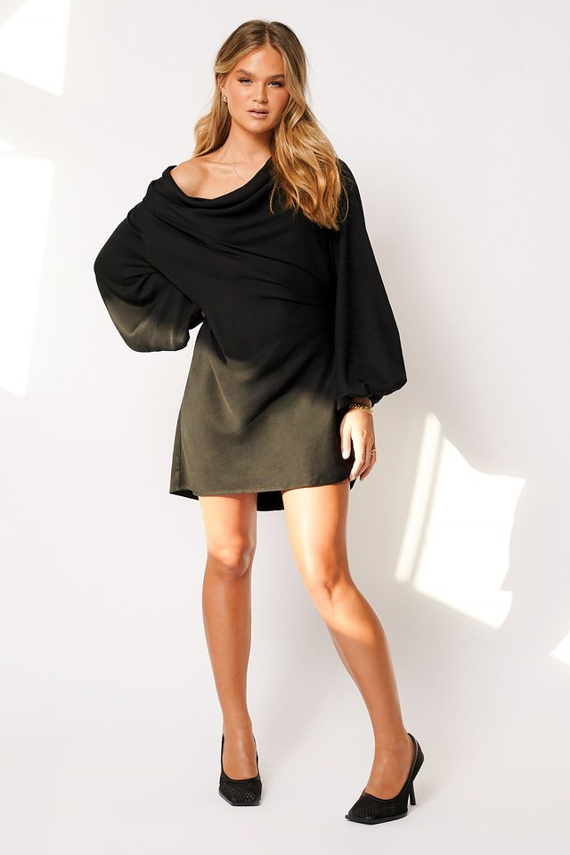Balloon Sleeve Long Top Black
