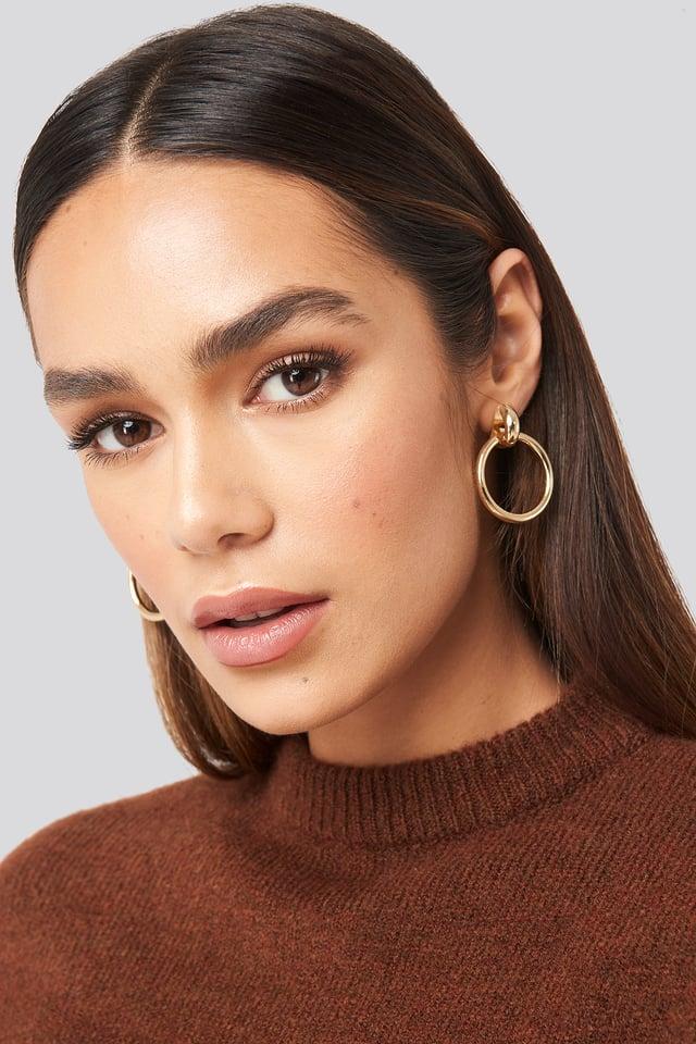 Connected Hoop Earrings Gold