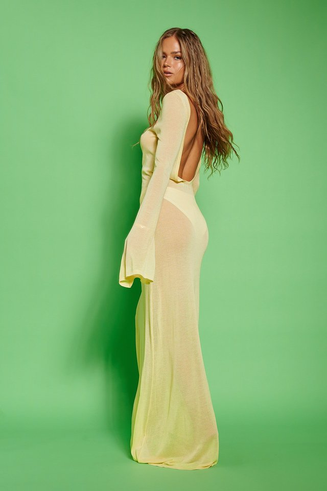 Pastel Yellow Deep Back Maxi Dress