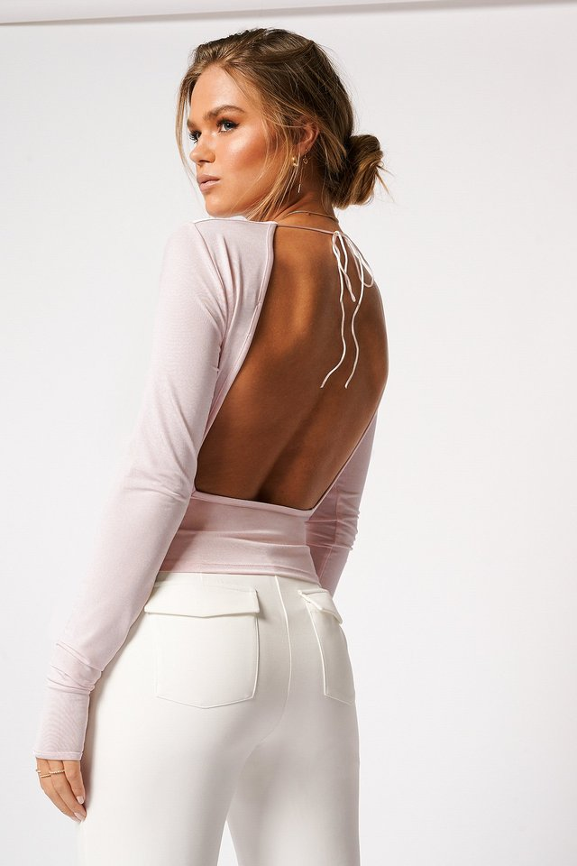 Draped Open Tie Back Top Pink