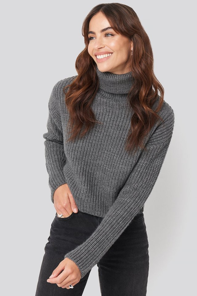 Folded Polo Neck Knitted Sweater Grey