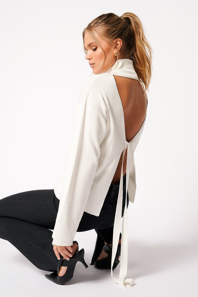 High Collar Open Back Knitted Sweater Off White