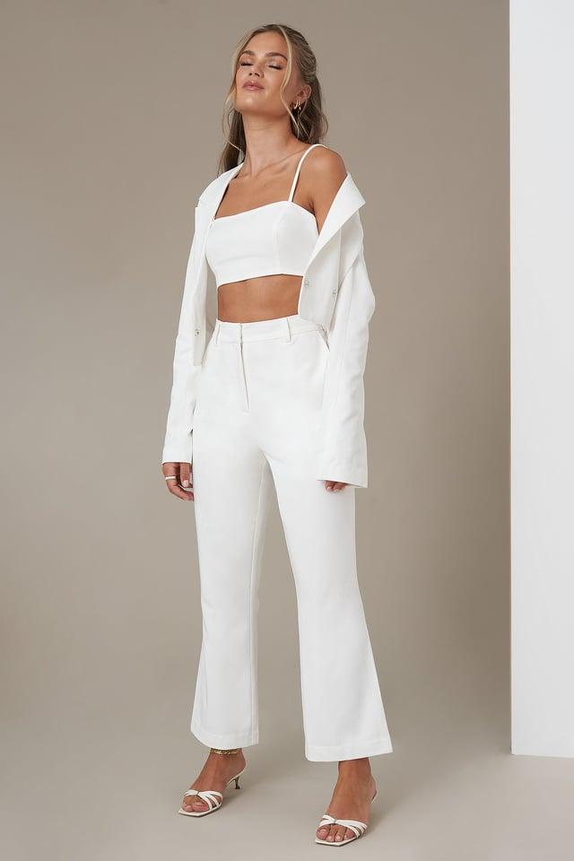 Kick Flare Suit Pants White