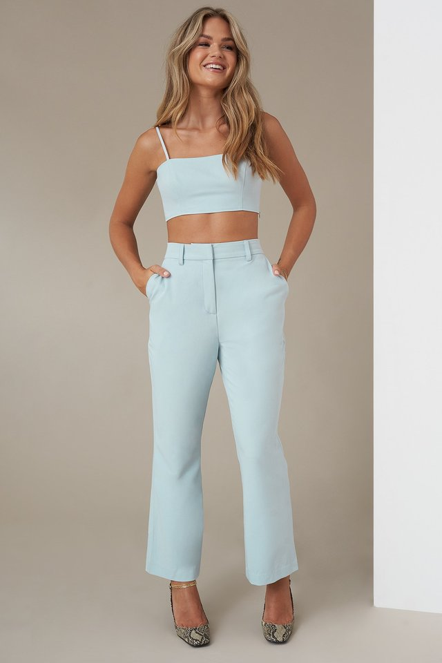 Kick Flare Suit Pants Light Blue