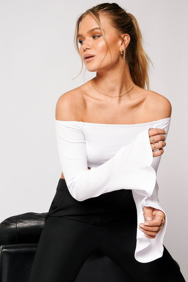 Ribbestrikket Off Shoulder-Topp White