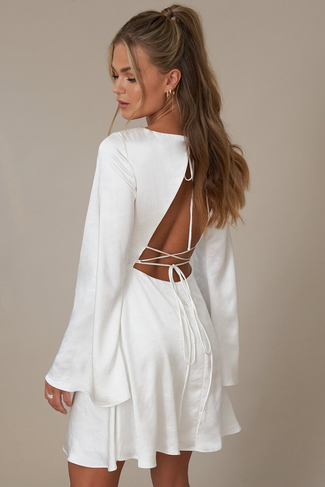 Open Back Flowy Dress White
