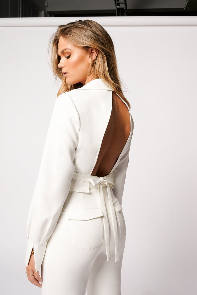 Open Back Tie Shirt Off White