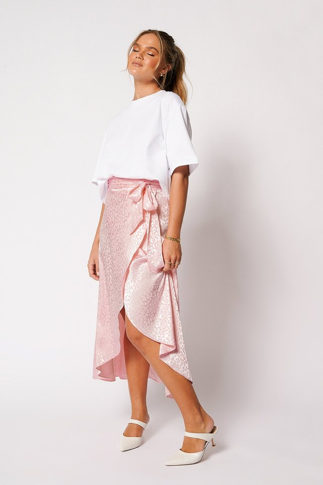 Overlapped Satin Tie Waist Skirt Pink