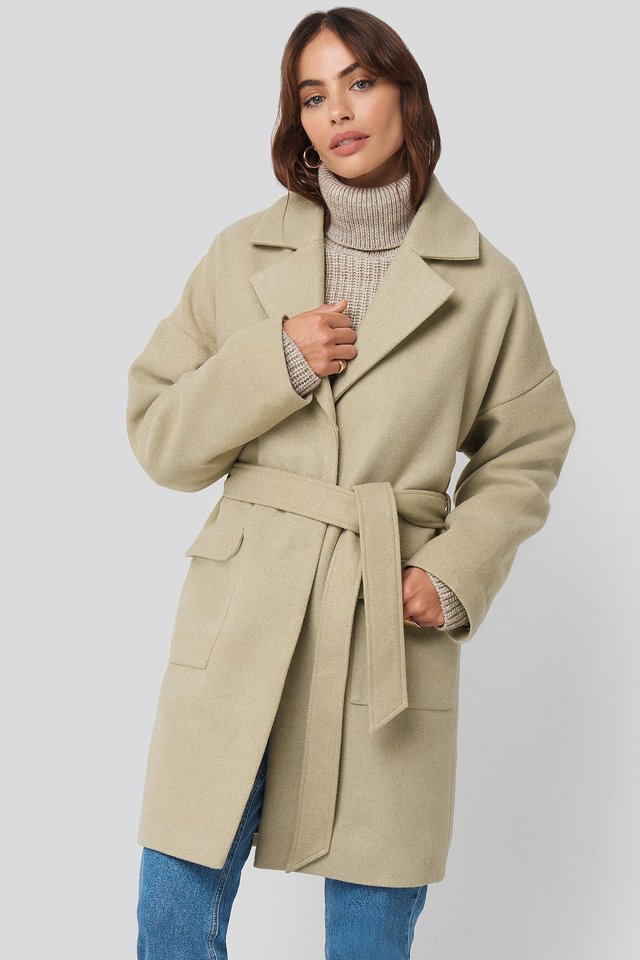 Beige Oversized Midi Coat
