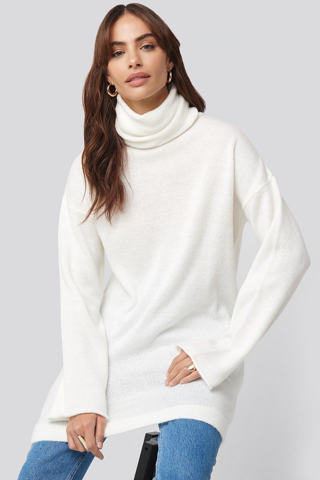 Oversized Polo Knitted Long Sweater Hannalicious x NA-KD